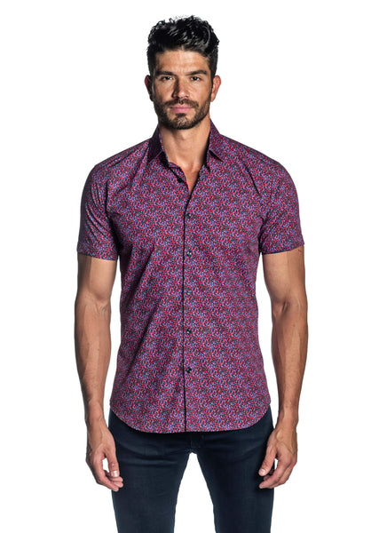 Navy and Fuchsia Micro Print Short Sleeve Shirt for Men - front T-2013-SS - Jared Lang