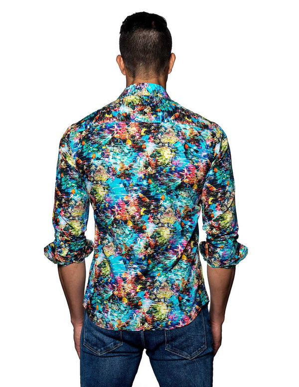 Multicolor Hawaiian Print Shirt for Men - back T-2038 - Jared Lang