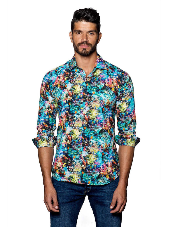 Multicolor Hawaiian Print Shirt for Men - front T-2038 - Jared Lang