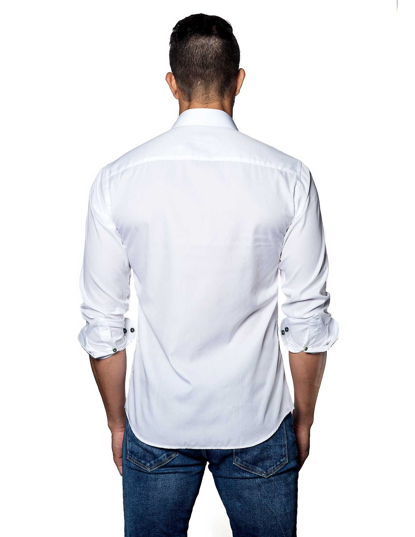 White Solid Damier Jacquard Shirt for Men - back T-2050 - Jared Lang