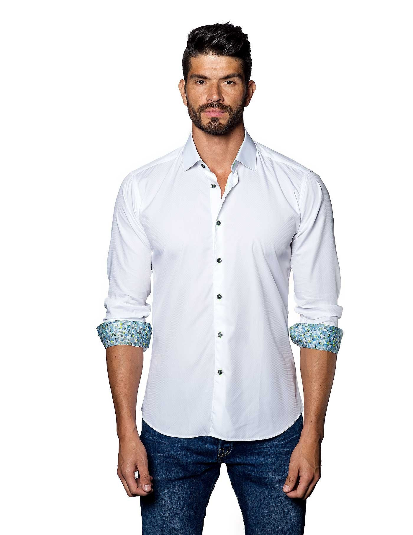 White Solid Damier Jacquard Shirt for Men - front T-2050 - Jared Lang