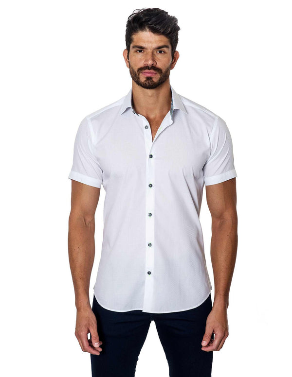 White Solid Damier Jacquard Short Sleeve Shirt for Men T-2050-SS - Front - Jared Lang