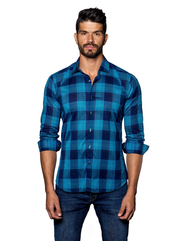 Navy, Turquoise Plaid Shirt for Men T-2056