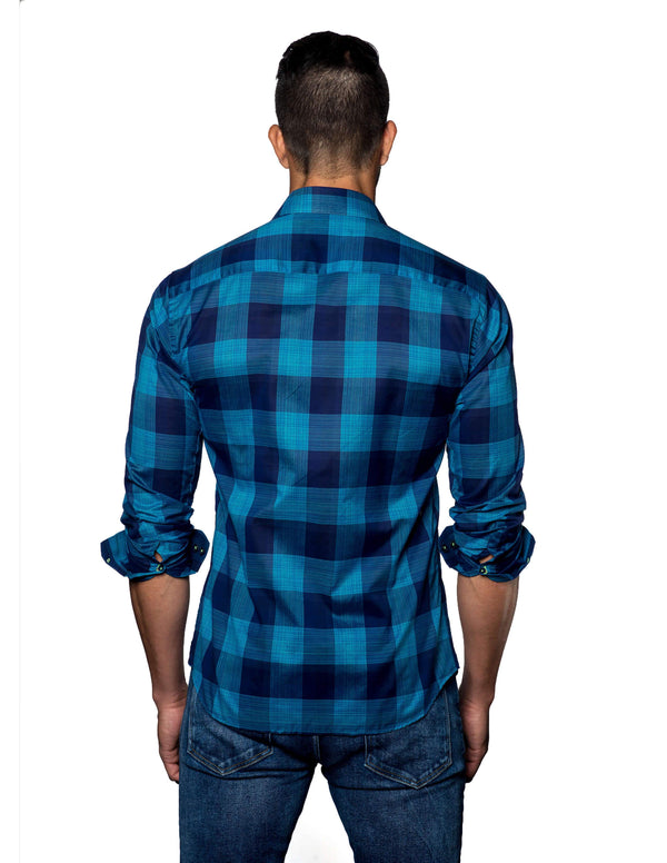 Navy, Turquoise Plaid Shirt for Men T-2056 - Back - Jared Lang