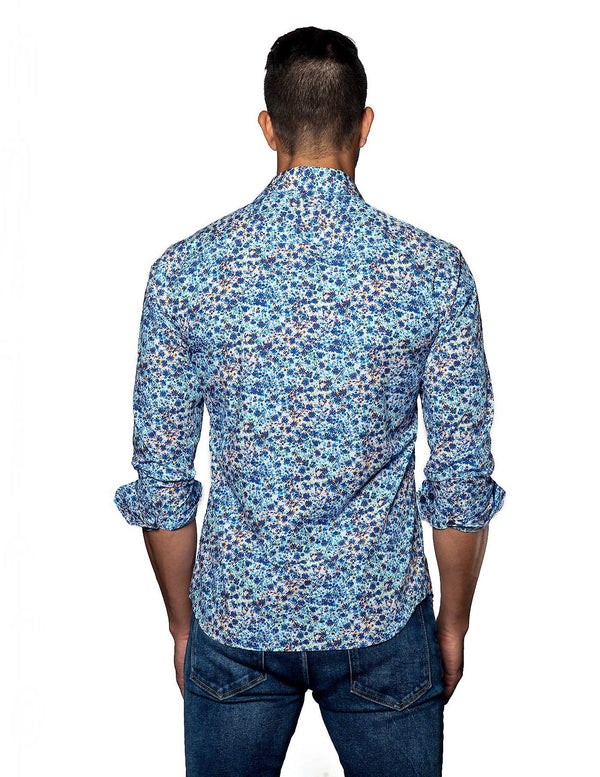 White and Blue Floral Shirt for Men - Back T-2069 - Jared Lang