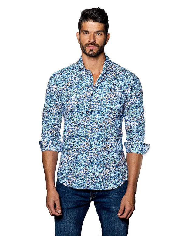 White and Blue Floral Shirt for Men - Front T-2069 - Jared Lang