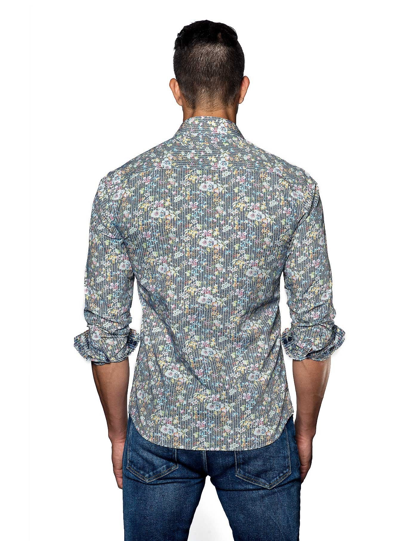 Multicolor Floral Print Shirt for Men - back T-2078 - Jared Lang