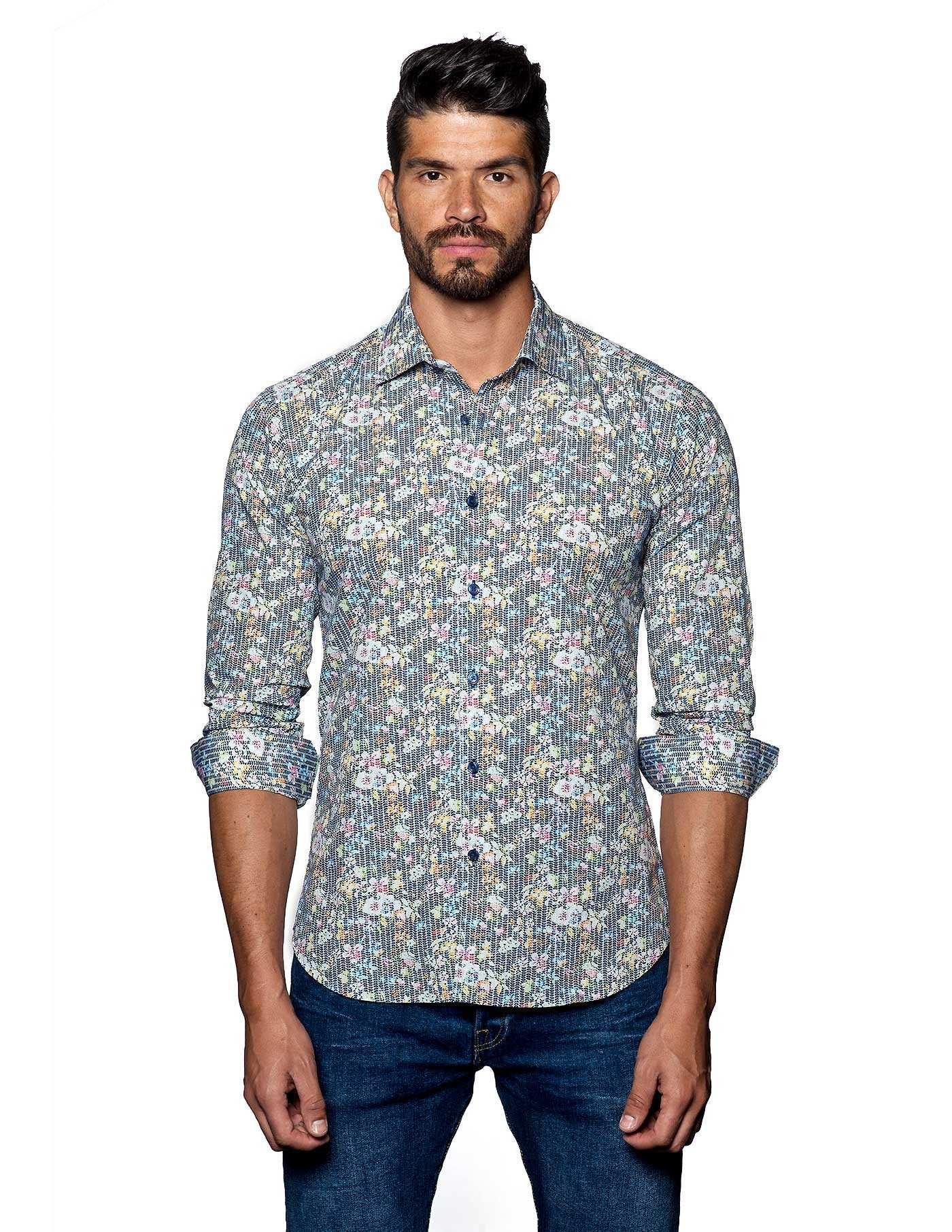 Multicolor Floral Print Shirt for Men - front T-2078 - Jared Lang