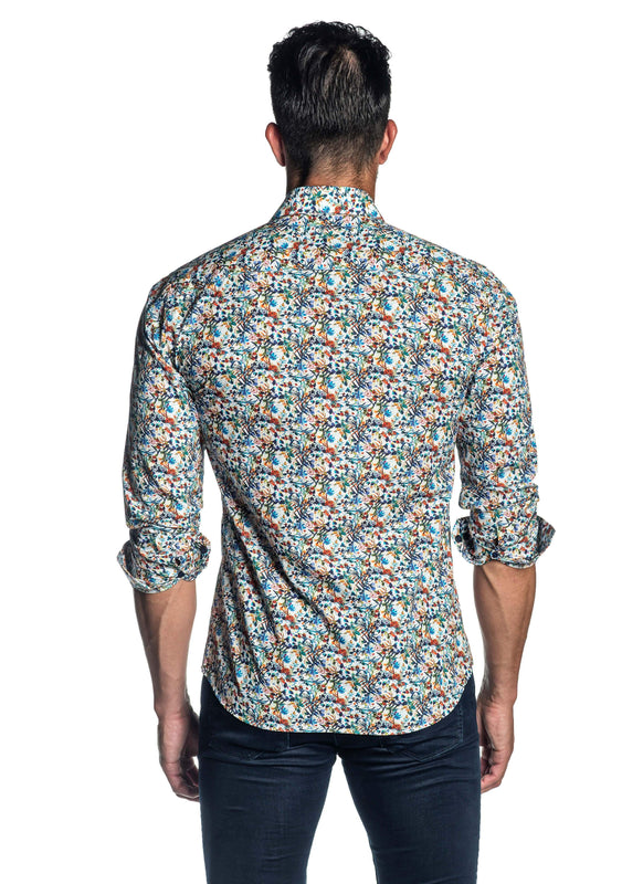 White Floral Printed Shirt for Men T-2080 - Back - Jared Lang
