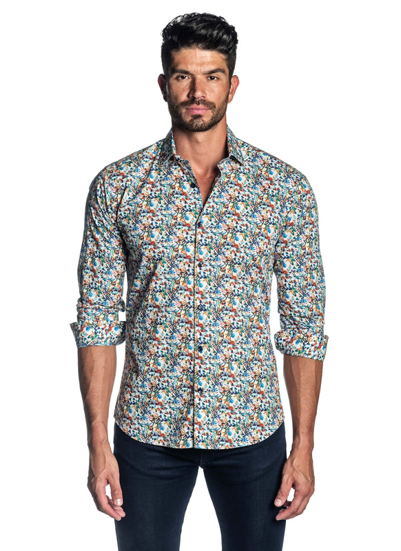 White Floral Printed Shirt for Men T-2080 - Front - Jared Lang
