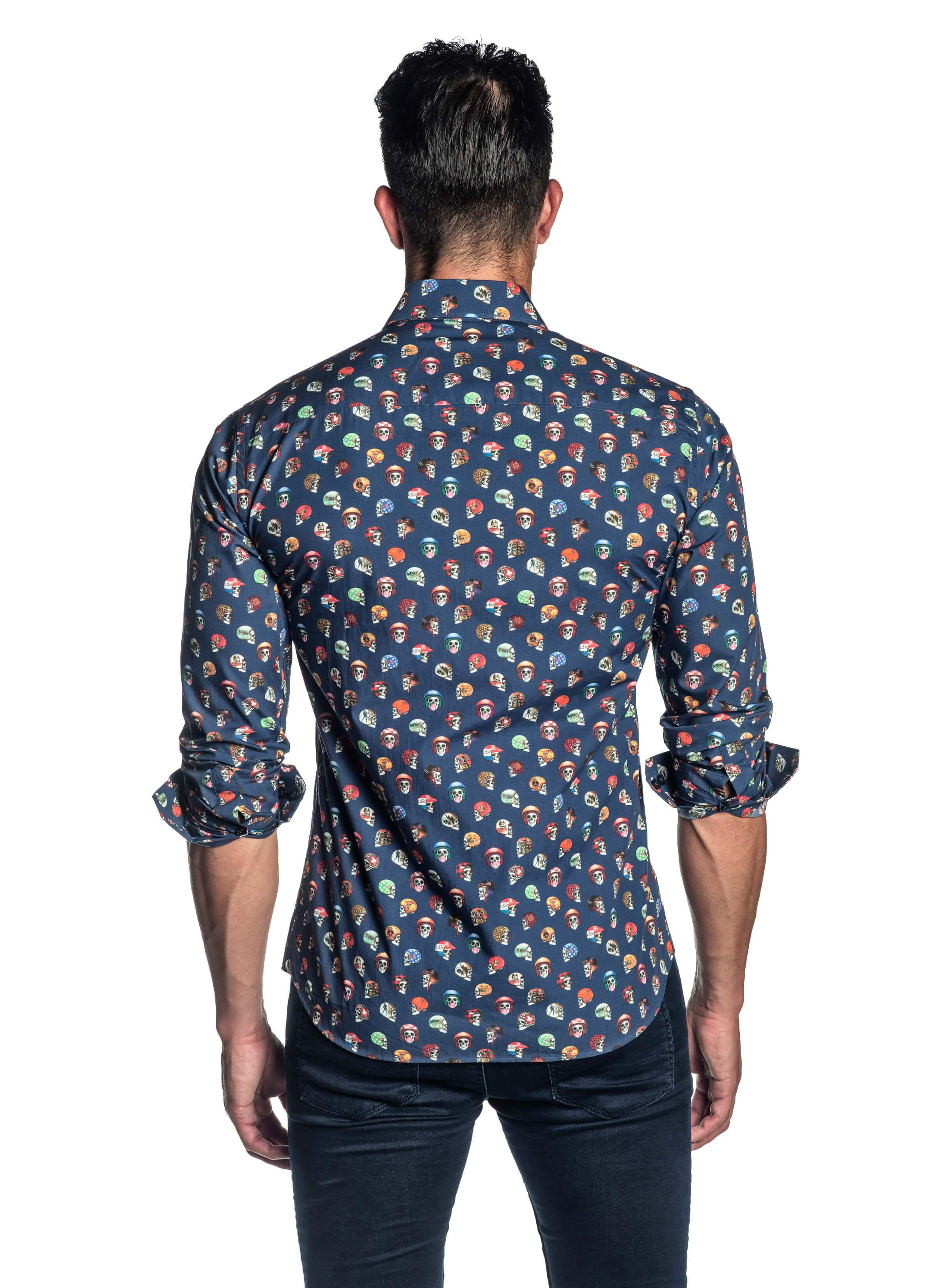 Navy Skulls Printed Shirt for Men T-2082 - Back - Jared Lang