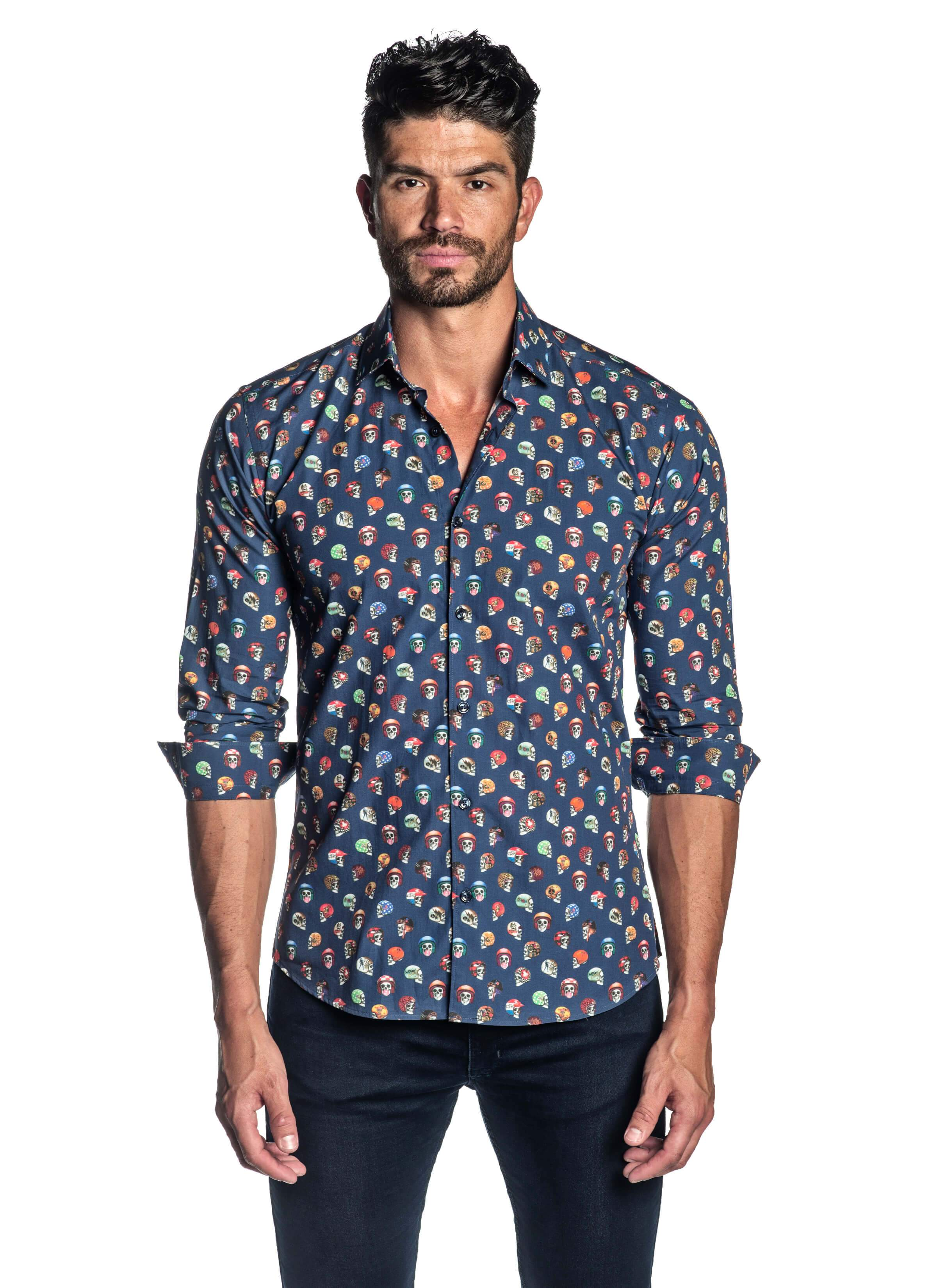 Navy Skulls Printed Shirt for Men T-2082 - Front - Jared Lang