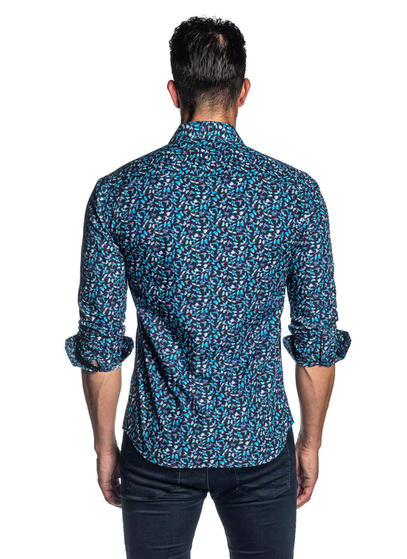 Navy and Turquoise Butterfly Print Shirt for Men - Front - T-2086 | Jared Lang
