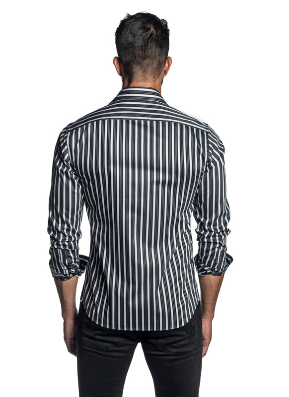 Black and White Stripe Shirt for Men T-2602 - Back - Jared Lang