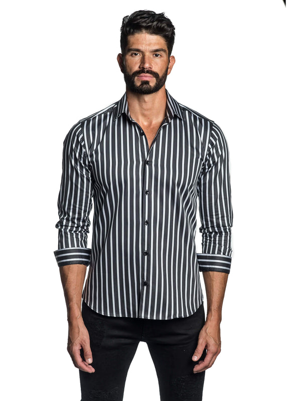 Black and White Stripe Shirt for Men T-2602 - Front - Jared Lang
