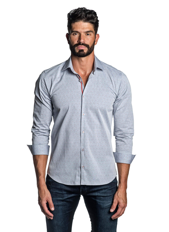 Heather Blue Dobby Shirt for Men T-2607 - Front - Jared Lang