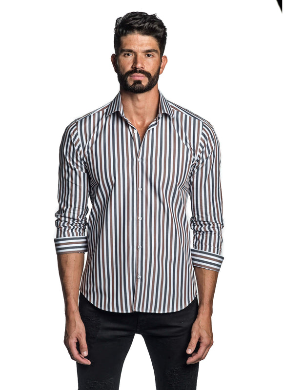 Blue and Brown Stripe Shirt for Men T-2612 - Front - Jared Lang