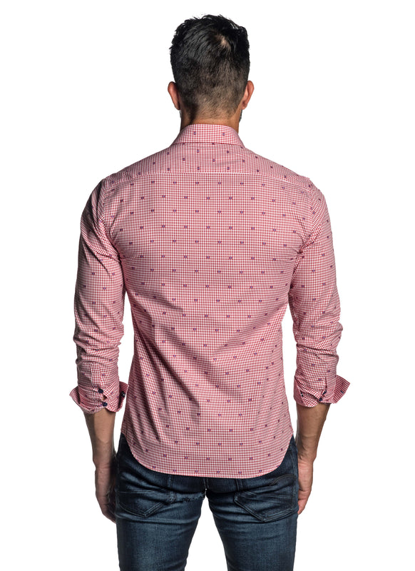 Red Dobby Gingham Shirt for Men T-2616 - Back - Jared Lang