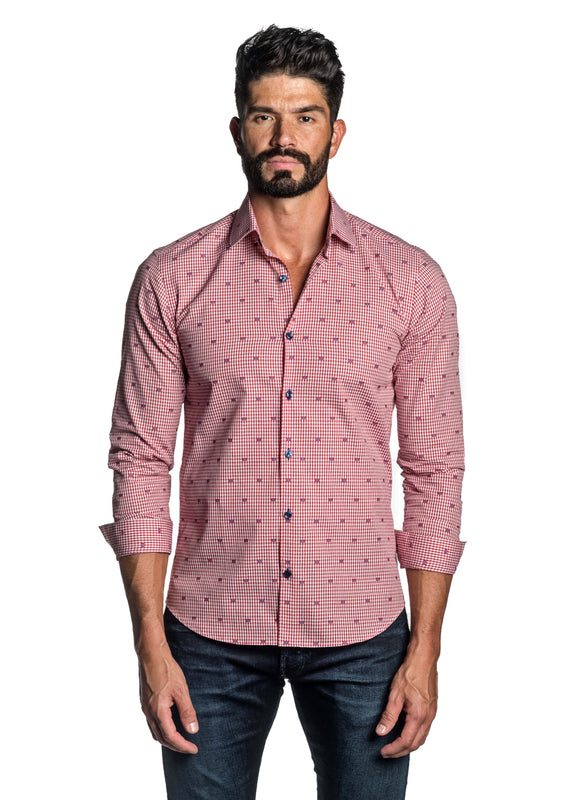 Red Dobby Gingham Shirt for Men T-2616 - Front - Jared Lang