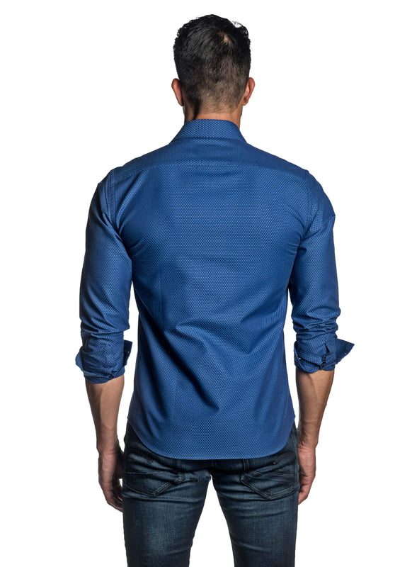Blue Jacquard Shirt for Men T-2629 - Back - Jared Lang