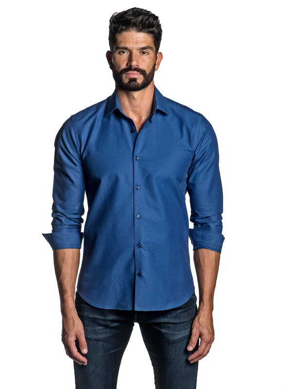 Blue Jacquard Shirt for Men T-2629 - Front - Jared Lang