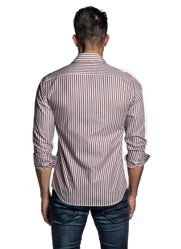 Red and Brown Stripe Shirt for Men T-2632 - Back - Jared Lang