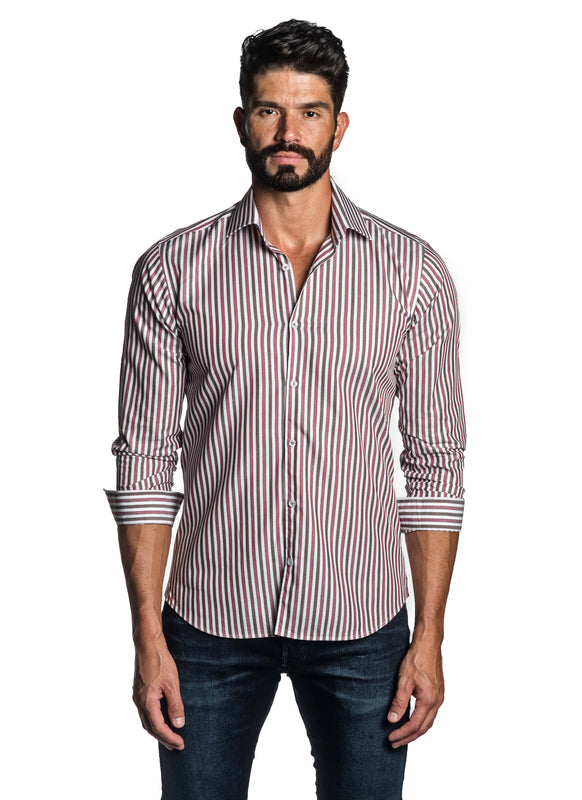 Red and Brown Stripe Shirt for Men T-2632 - Front - Jared Lang