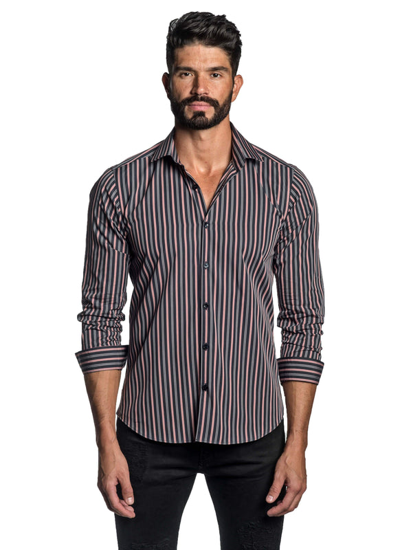 Black Salmon and Grey Stripe Shirt for Men T-2645