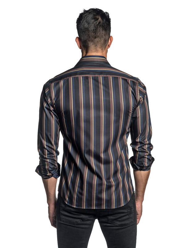 Black Blue and Brown Stripe Shirt for Men T-2646 - Back - Jared Lang