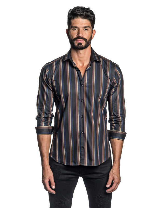 Black Blue and Brown Stripe Shirt for Men T-2646 - Front - Jared Lang