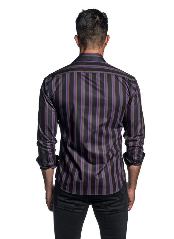 Black and Purple Stripe Shirt for Men T-2648 - Back - Jared Lang