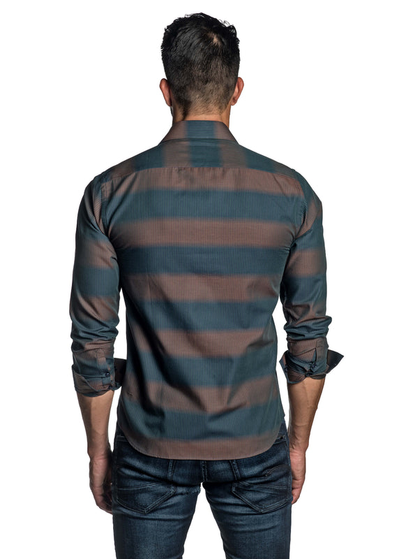 Teal and Brown Stripe Shirt for Men T-2663 - Back - Jared Lang