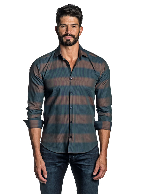 Teal and Brown Stripe Shirt for Men T-2663 - Front - Jared Lang