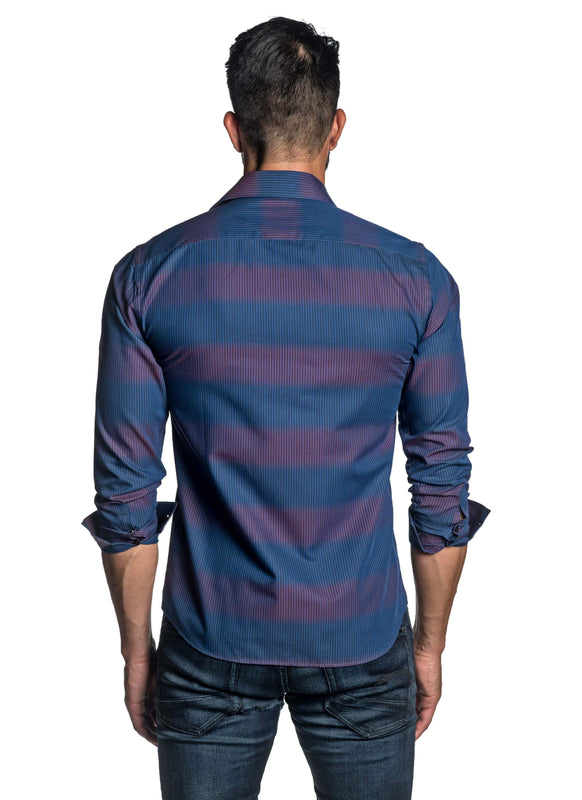 Blue and Fuchsia Stripe Shirt for Men T-2664 - Back - Jared Lang