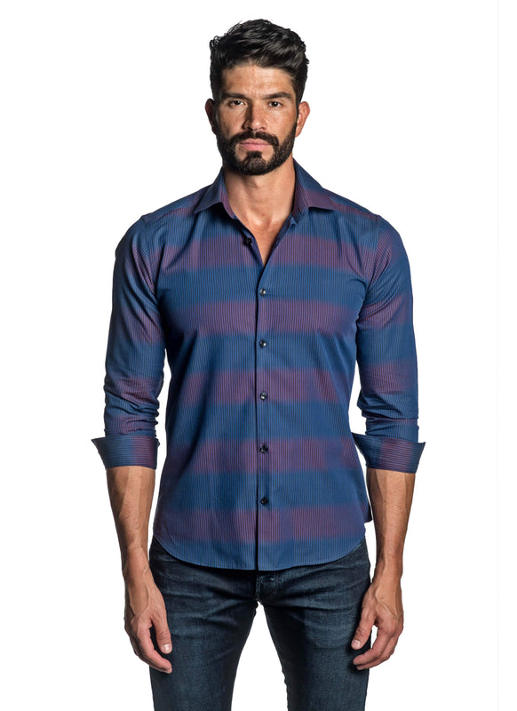 Blue and Fuchsia Stripe Shirt for Men T-2664 - Front - Jared Lang