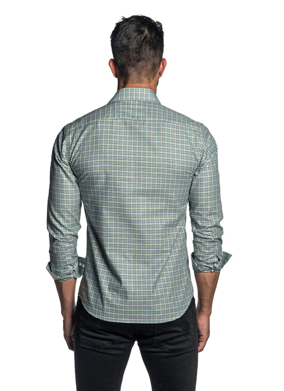 Green Gingham Shirt for Men T-2684 - Back - Jared Lang