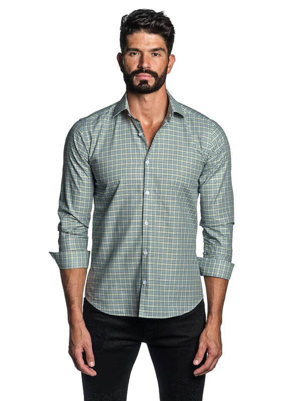 Green Gingham Shirt for Men T-2684 - Front - Jared Lang
