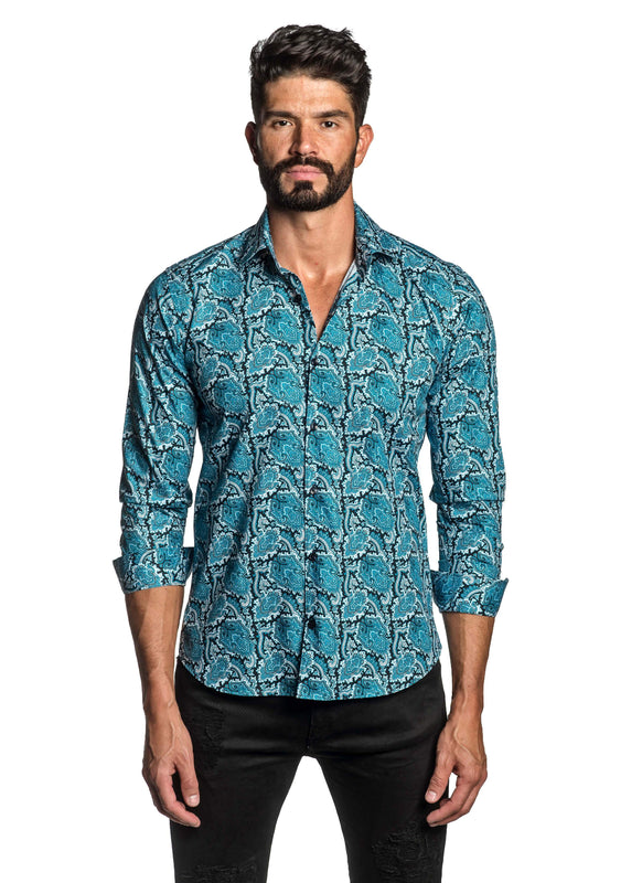 Blue Paisley Shirt for Men T-2694 - Front - Jared Lang