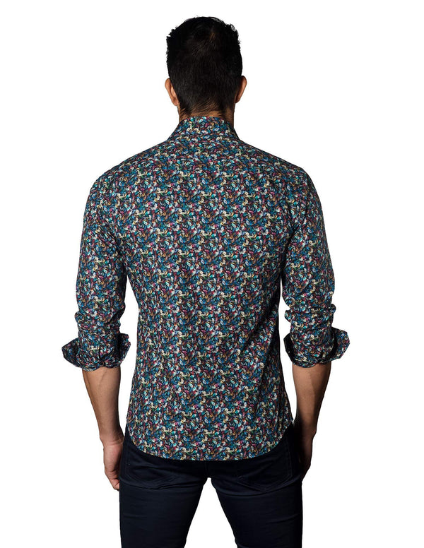 Navy Multicolor Autumn Floral Shirt for Men - back T-3018 - Jared Lang