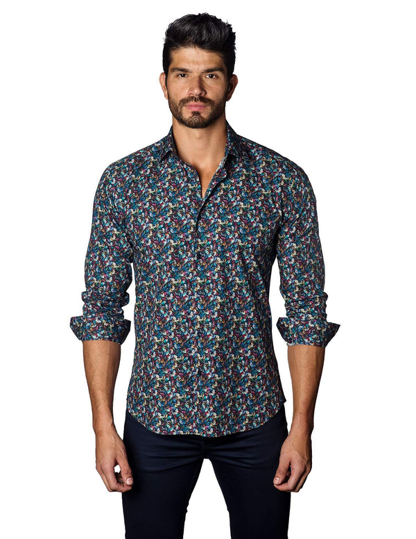 Navy Multicolor Autumn Floral Shirt for Men - front T-3018 - Jared Lang
