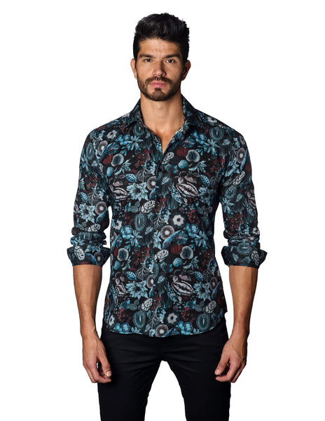 Black, Blue and Burgundy Floral Print Shirt for Men T-3034 - Jared Lang