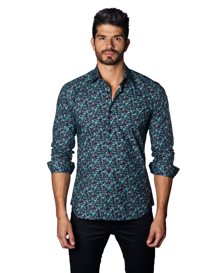 Navy Berries Print Shirt for Men - front T-3042 - Jared Lang Collection