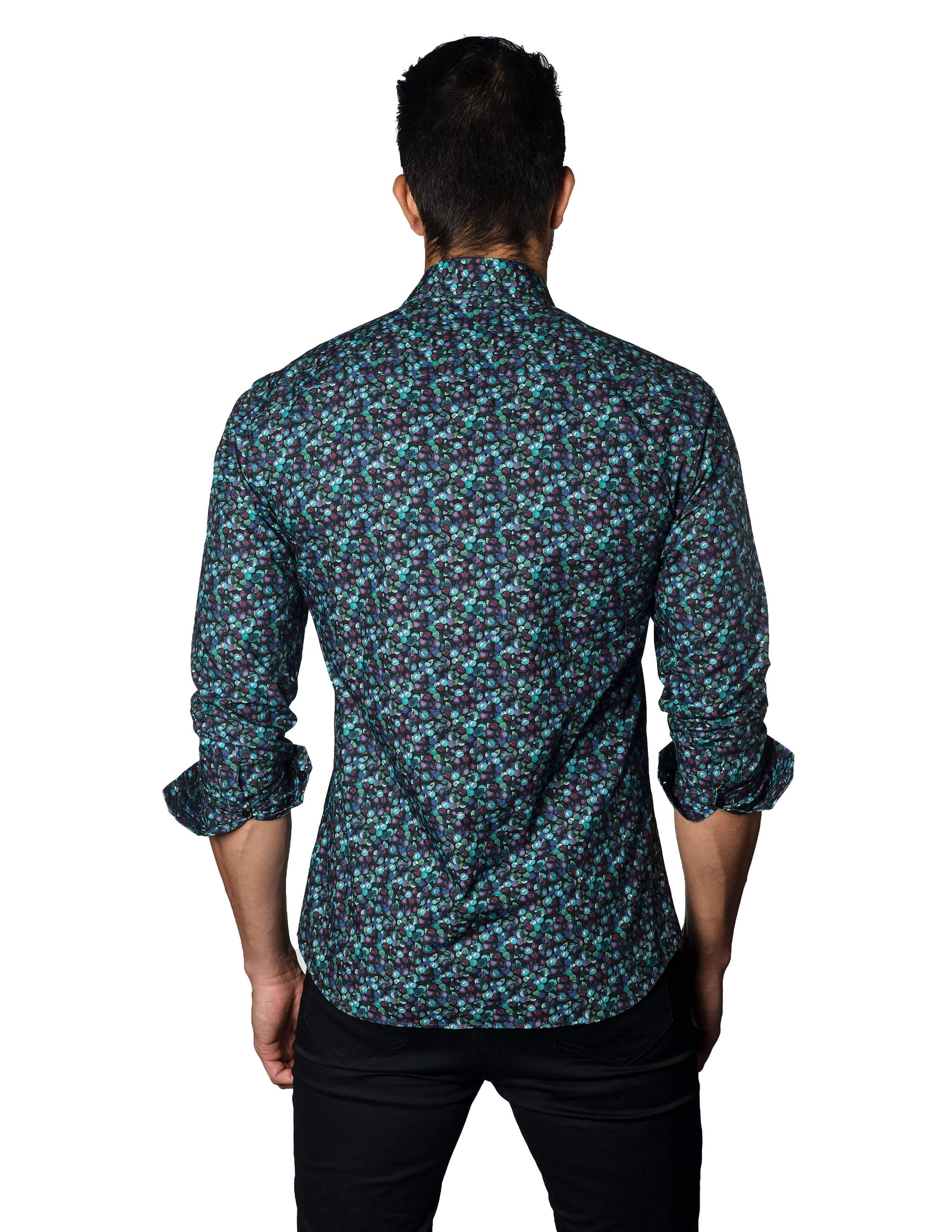 Navy Berries Print Shirt for Men - back T-3042 - Jared Lang Collection
