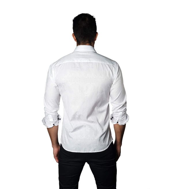 White Jacquard Shirt for Men T-3053 - Back - Jared Lang