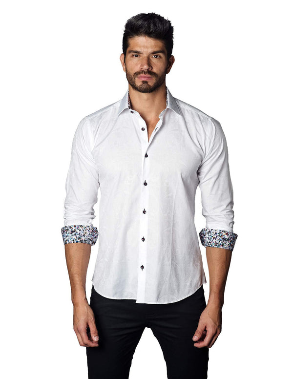 White Jacquard Shirt for Men T-3053 - Front - Jared Lang