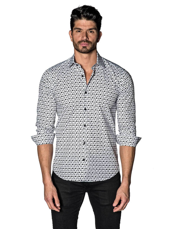 White and Black Scooter Print Shirt for Men T-3056 - Front - Jared Lang