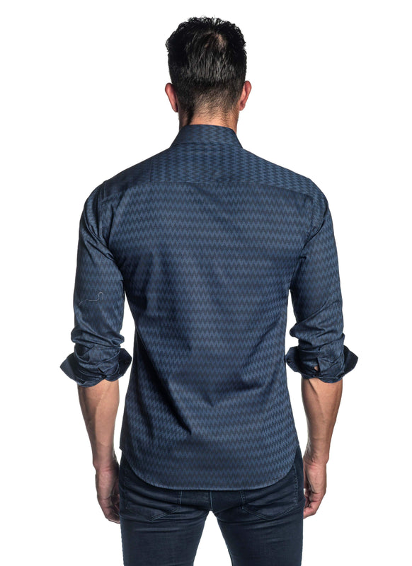 Navy Blue Jacquard Shirt for Men T-3068 - Front - Jared Lang