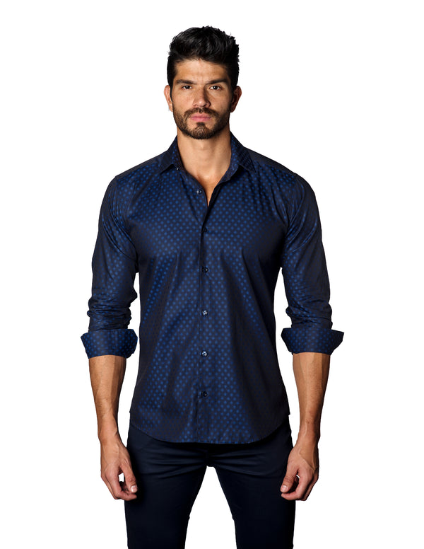 Navy Blue Geometric Jacquard Shirt for Men T-3076 - Front - Jared Lang