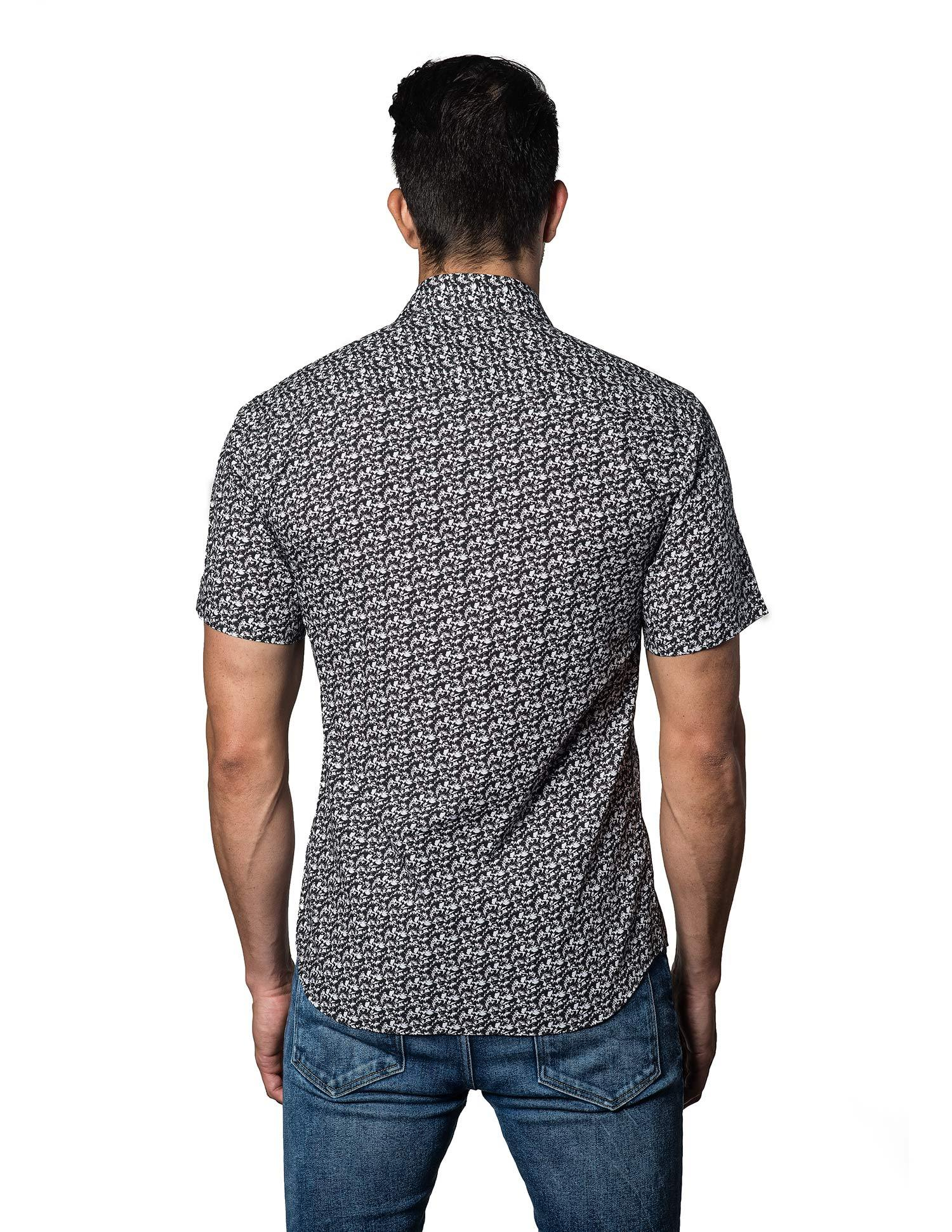 White and Black Floral Shirt for Men - back T-3092-SS - Jared Lang