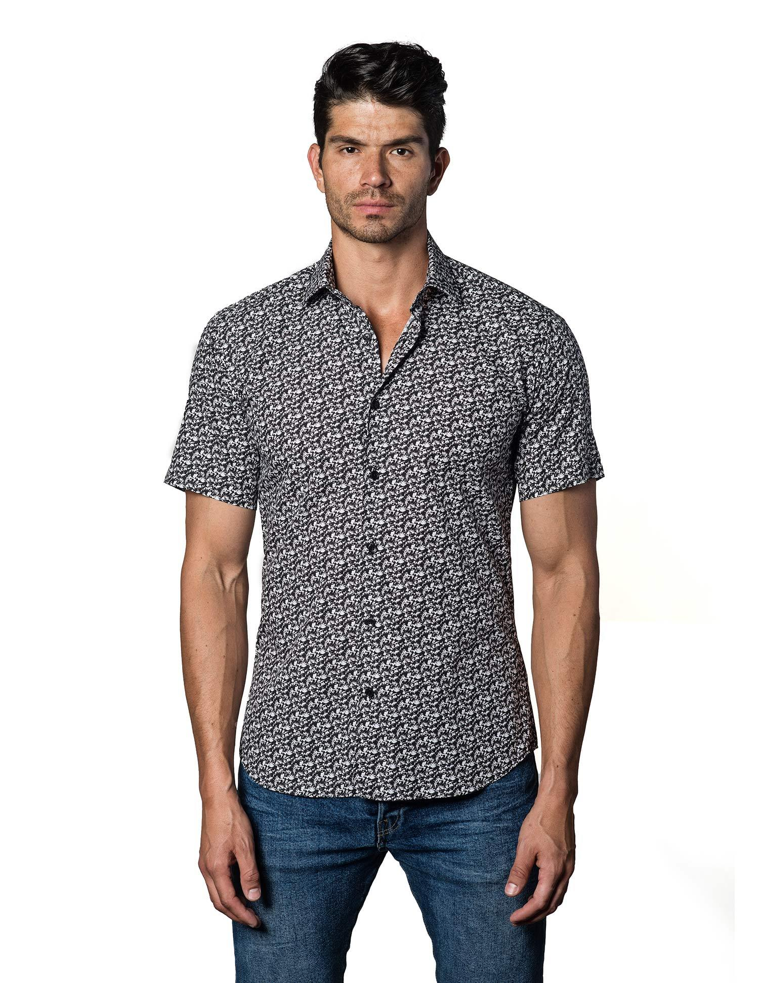 White and Black Floral Shirt for Men - front T-3092-SS - Jared Lang
